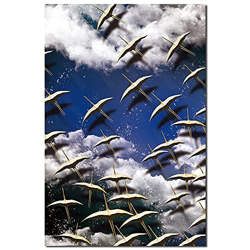 qingqingzijin Cartel de patrón de Belleza de luz de Luna Nocturna Pintura en Lienzo Arte contemporáneo Sala de Estar decoración del hogar A252 50 × 70 CM sin Marco