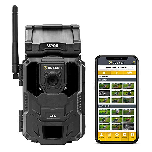 Vosker V200 | Cellular Security Camera | Built-in Solar Panel | LTE, Wireless, Weatherproof, No Wi-Fi Required | Motion Activated Outdoor Surveillance Cameras | Mobile Phone Photo Notifications