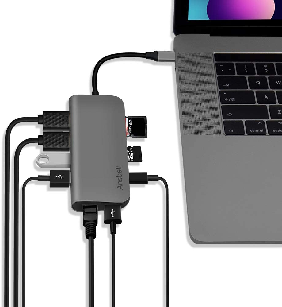 Ansbell USB C Hub Ethernet - 9 in 1 Multiport Portable Aluminum Adapter for MacBook Pro / Chromebook / XPS Charging with 4K Dual HDMI | 3 USB 3.0 | SD/TF Card Reader | 87W Power Delivery | Android