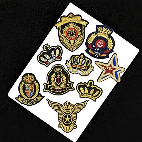 iron on patch,parches para ropa,Aplique de bordado, utilizado para decorar ropa para reparar agujeros en la ropa, emblema de estrella de corona de 9 piezas