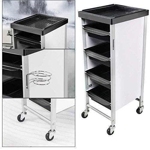 DDL Premium Rolling Trolley Cart Beauty Storage Tool with Drawers Multifunctional Hairdresser Cabinet Mobile Makeup Case (Color : White)
