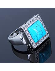 Synthetic Turquoise Stone Men Stainless Steel Ring Size 8