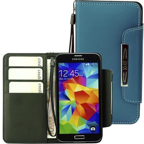 ROTRi reg; Handytasche für Samsung Galaxy S5 im Bookstyle mit abnehmbarer Handschlaufe - blaugrün