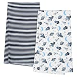 GERBER Organic 4-Pack Flannel Blanket, Navy Space, One Size