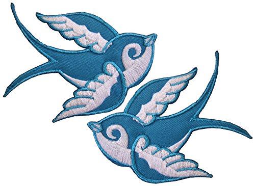 Schwalben Aufnäher Bügelbild Aufbügler Patch Swallow Rockabilly Stick Tattoo, C1007