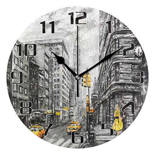 HMZXZ Reloj de pared de 9,5 pulgadas para mujer, taxi, pintura al óleo de Nueva York, silencioso, no hace tictac, reloj redondo para el hogar, sala de estar, cocina, oficina, escuela decoración