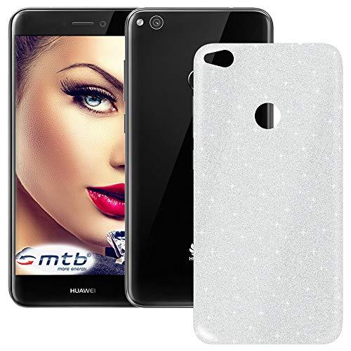 mtb more energy® TPU Hülle Shine für Huawei P8 Lite 2017 - P9 Lite 2017 - Honor 8 Lite (5.2'') - Silber - Glitzer-Effekt - flexibel - Schutzhülle Case Cover Tasche