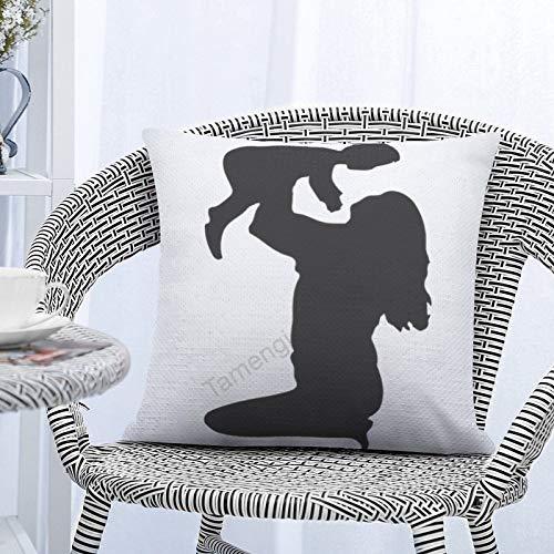 Tamengi Fundas de almohada de lentejuelas reversibles de 40,6 x 40,6 cm, funda de almohada decorativa de lentejuelas (madre que levanta niño)