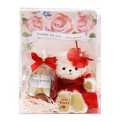 【プティルウ】真っ赤なドレスのベアのギフトセット、フラワードレスベア クッキー型セット (ノーマル)