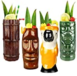 Tiki Mugs Cocktail Set of 4 - Large Ceramic Hawaiian Party Mugs Drinkware, Cute Exotic Cocktail Glasses, Tiki Bar Professional Hawaiian Party Barware, TKSET0001