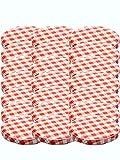 100 Twist-Off-Deckel Verschlüsse Ersatzdeckel Deckel für Sturzgläser To 82 Passend für 230/350 / 435 ml / 565 ml (Rot Karriert)