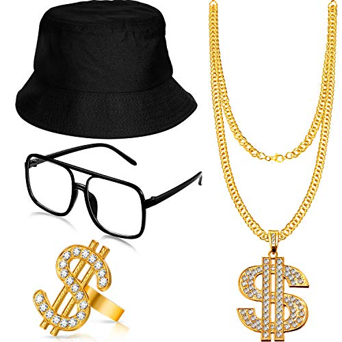 Gejoy Hip Hop Costume Kit Bucket Hat Sunglasses Gold Chain Ring 80s/90s Rapper Accessories (Black)