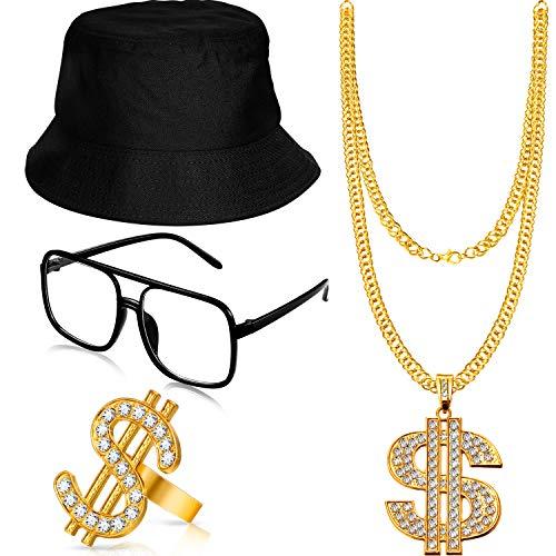 Gejoy Hip Hop Kostüm Kit Eimer Hut Sonnenbrille Gold Kette Ring 80/ 90 Jahre Rapper Zubehör