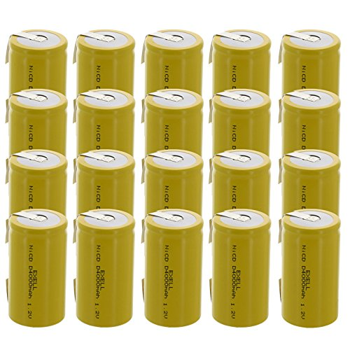 20x Exell D Size 1.2V 4000mAh NiCD Rechargeable Batteries with Tabs for meters, radios, hybrid automobiles, high power static applications (Telecoms, UPS and Smart grid), radio controlled devices