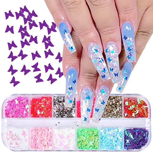SOSPIRO 4 Boxes 48 Color Butterfly Nail Sequins, Resin Glitter Nail Art Decoration Face Decor for Parties, Festival Decor and DIY Crafts