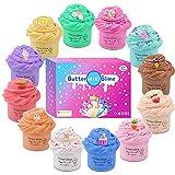 12 unidades Slime Kit con mini glues de manteca de Nivel, Slime Unicornio, Slime tarta, Slime de helado y otros, caja de superSlime, juguete de masilla suave y no pegajoso para los niños