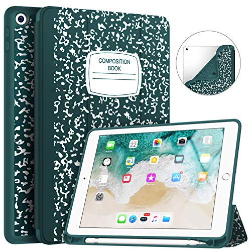 Soke iPad 9.7 2018/2017 Case with Pencil Holder, Trifold Stand with Shockproof Soft TPU Back Cover and Auto Sleep/Wake Function for iPad 9.7 inch 5th/6th Generation,Book Teal