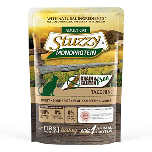 Stuzzy, Comida húmeda para Gatos Adultos, Sabor Pavo, paté monoproteínico sin Trigo ni Gluten - Total 1,36 kg (16 Sobres x 85 gr)