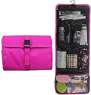 Hanging Travel Toiletry Bag Travel Kit Organizer Cosmetic Makeup Waterproof Wash Bag for Women Girls Travel Case for Bathroom Shower (1 Hot Pink)