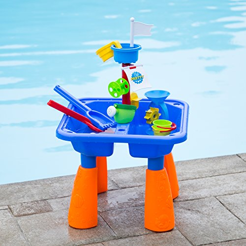 Next Milestones Kids Sand and Water Table Play Set, Beach Toys Sandbox Include Sand Bucket, Water...