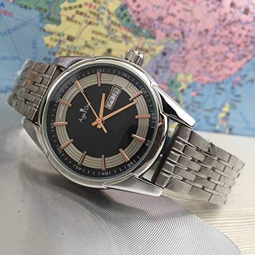 Leshared Zilveren RVS kalender herenhorloges automatische mechanische sport goud zwart leer saffier recreatiehorloge