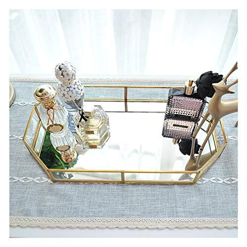 Hggzeg Bandeja de cristal dorado con espejo, bandeja decorativa de metal poligonal...