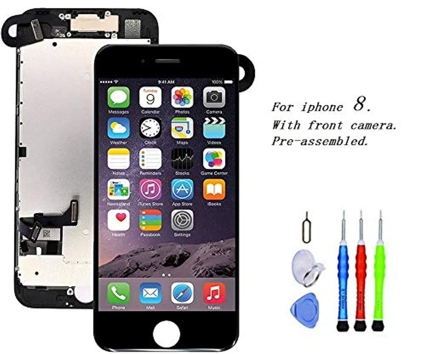 Premium Screen Replacement Compatible with iPhone 8 4.7 inch Full Assembly - LCD 3D Touch Display digitizer with Front Camera, Ear Speaker and Sensors, Compatible with All iPhone 8 4.7(Black)