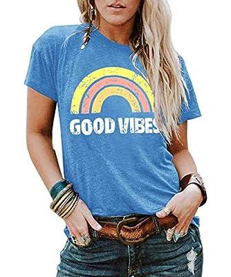 YEXIPO Good Vibes Shirt Womens Short Sleeve Graphic Tees Rainbow Print Funny T Shirts Cute Summer Tops