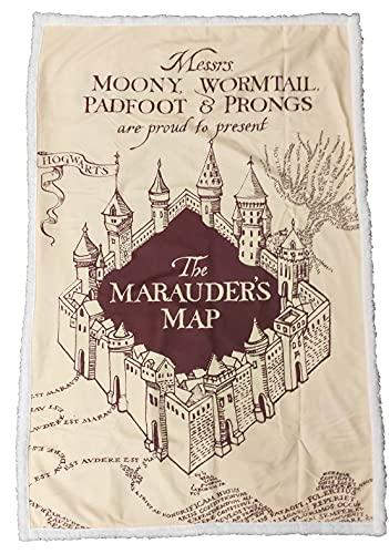 Harry Potter Plaid Sherpa – Coperta Plaid Super Morbida – Motivo: Cartolina del Marauder Beige Poudlard – Regalo per Fan e Passionnato – Qualità superiore – Dimensioni 100 cm x 150 cm
