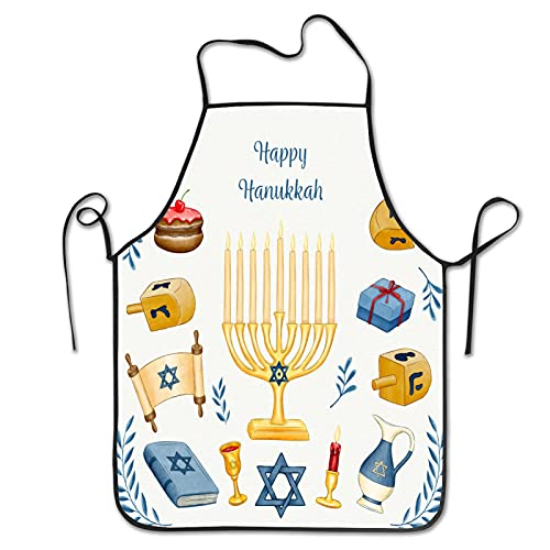 Watercolor hanukkah concept Aprons for Men Women for Grilling Cooking Chef Kitchen Crafting BBQ Outdoors