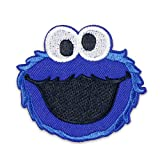 Sesame Street Patch 1 Piece Cookie Monster Sew On/Iron On Patches for Jackets Backpacks Clothes Jeans Denim Hat Exquisite Embroidered Cartoon Applique DIY Decorations (Cookie Monster 1)