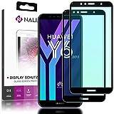 NALIA (2-Pack) Schutzglas kompatibel mit Huawei Y6 2018, 9H Full-Cover Bildschirm Schutz Glas-Folie, Dünne Handy Schutzfolie Display-Abdeckung, HD Schutz-Film Screen Protector - Transparent (schwarz)