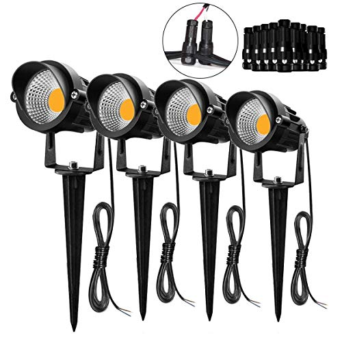 Hypergiant 4 Pack 7W LED Landscape Lighting with Connectors 12V 24V,Outdoor Low Voltage Landscape Lights Warm White IP65 Waterproof,Pathway Garden Wall Outdoor Spotlights for Backyard,Lawn,Patio,Yard