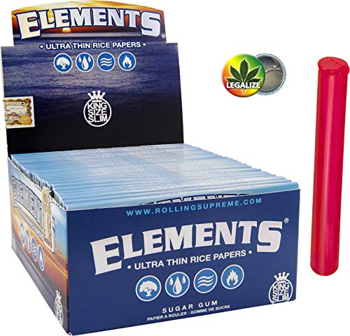 Set Elements KingSize Slim Papers 50x33 + Buddies Jointhülle 110mm bunt + Rasta-Button