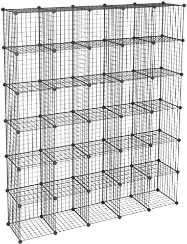 KOUSI DIY Wire Cube Storage Modular Metal Shelf Cubby Shelving Stackable Grid Organizer 30 Cube product image