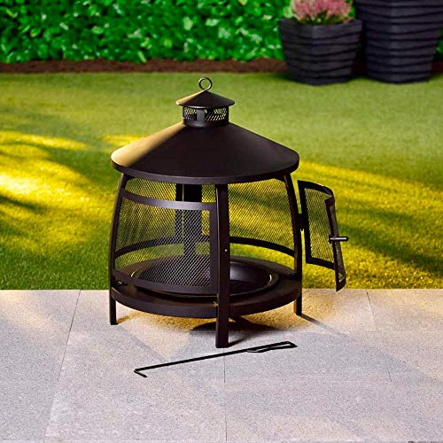 Alfresco Living Portland Fire Basket with Spark Protection Grille 51 x 65 cm Black Fire Bowl Fire Pit Poker Patio Patio Garden