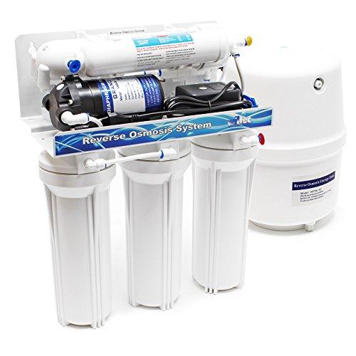 Naturewater 5 Stufen Umkehrosmose RO 180 L/Tag mit Druckerhöhungspumpe und manuellem Ventil