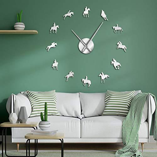 DIY Reloj de pared grande decoración pared Ecuestre DIY Reloj de pared grande Ecuestre Reloj de carrera de caballos decorativo con pegatinas de efecto de espejo de montar a caballo artístico【Negro】