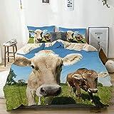 SUHOM Bettwäsche-Set, Mikrofaser,Schließen Sie herauf süßes Foto von Kühen an der Wiese in a...