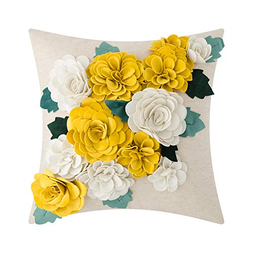 King Rose 3D Flower Throw Pillow Cover Home Decorative Accent Pillow Case Sham Square Cushion Cover Sofa Bed Couch Living Room 18 x 18 Inches Yellow White