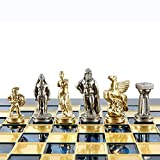 Manopoulos Spartan Warriors Chess Set - Brass&Nickel - Blue Chess Board