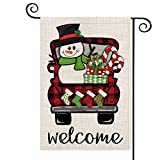 AVOIN Buffalo Plaid Truck Garden Flag Vertical Double Sized Snowman Christmas Stockings, Winter Holiday Yard Outdoor Decoration 12.5 x 18 Inch
