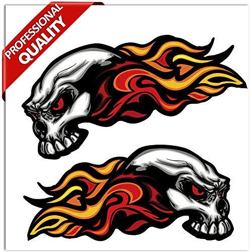 SkinoEu® 2 Stück Vinyl Aufkleber Autoaufkleber Skull Schädel Totenkopf Mit Flammen Feuer Horror Stickers Auto Moto Motorrad Fahrrad Helm Fenster Tür Tuning B 35