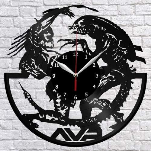 Alien Vs Depredator - Reloj de pared con diseño de abanico de vinilo para decoración del hogar, diseño vintage