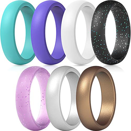 ThunderFit Silicone Wedding Band for Women - 5.5mm Wide - 2mm Thick (Teal, Purple, White, Silver, Bronze, Black Glitter, Pink Glitter - Size 3.5-4 (14.9mm))
