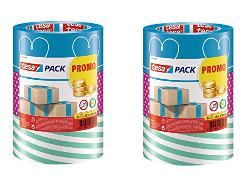 tesa - buntes Packband Klebeband Packetklebeband Verpackungsband in Verschiedenen bunten Designs für Geschenke/ 3 Rollen a 25m x 50mm (Blau/Pink / Grün, 6 Rollen)