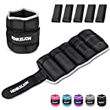 Henkelion 1 Pair 10 Lbs Adjustable Ankle Weights for Women Men Kids, Strength Training Wrist and Ankle Weights Set for Gym, Fitness Workout, Running, Lifting Exercise Leg Weights - Each 5 Lbs Black