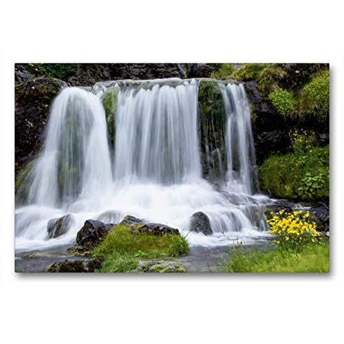CALVENDO Premium Textil-Leinwand 90 x 60 cm Quer-Format Wasserfall am Dynjandi, Leinwanddruck von Winfried Rusch