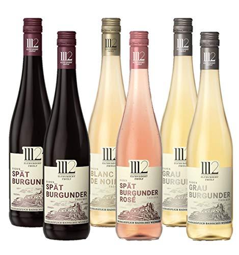 1112 Weine – Mixpaket mit 2x Grauburgunder, 1x Blanc de Noir, 2x Spätburgunder und 1x Spätburgunder Rosé(6 x 0,75l)