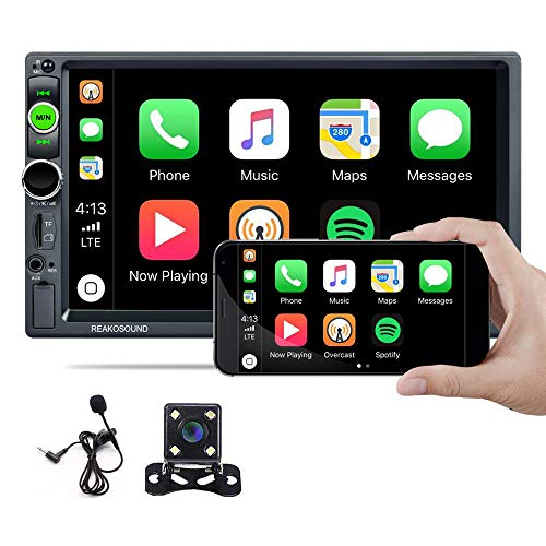 Hikity Car Stereo Double Din Car Play with Android Auto 2021 New 7 Inch Touchscreen Radio, Bluetooth FM Receiver, Mirror Link, SD AUX USB Input, Wireless Remote Control + Backup Camera & Microphone